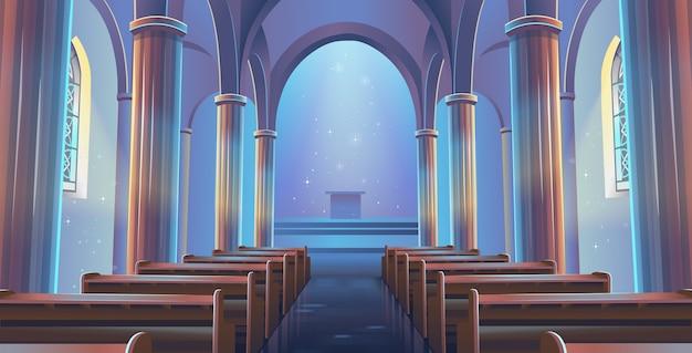 Widok kościoła katedralnego wewnątrz. wnętrze kościoła katolickiego.