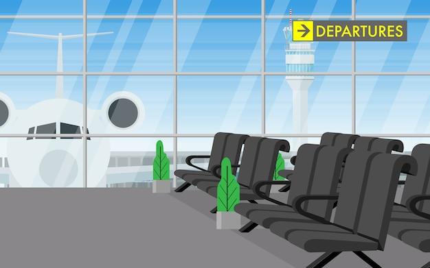 Widok krajobrazu wewnątrz terminalu lotniska