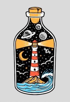 Widok latarni morskiej w nocy na ilustracji butelki