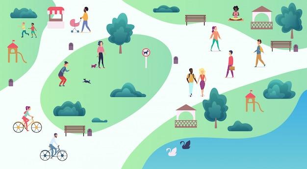 Widok mapy z góry różnych osób spacerujących po parku i uprawiających sporty rekreacyjne na świeżym powietrzu. ilustracja wektorowa parku miejskiego.