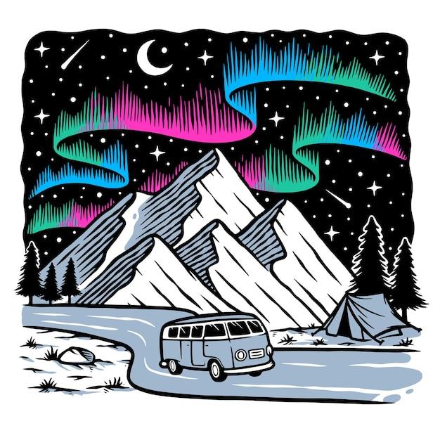 Widok na góry w nocy z zorzą polarną