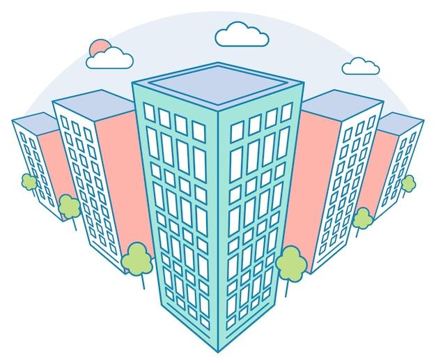 Widok na krajobraz miasta z wysokimi budynkami, chmurami, drzewami, nowoczesna kamienica mieszkalna