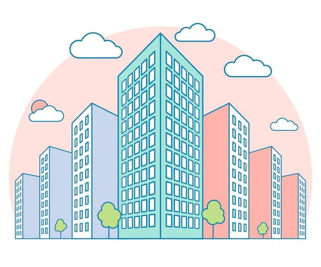 Widok na krajobraz miasta z wysokimi budynkami, chmurami, drzewami, nowoczesne osiedle i kamienica vecto
