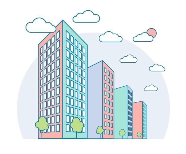 Widok na krajobraz miasta z wysokimi budynkami, chmurami, drzewami nowoczesny dom mieszkalny wektor