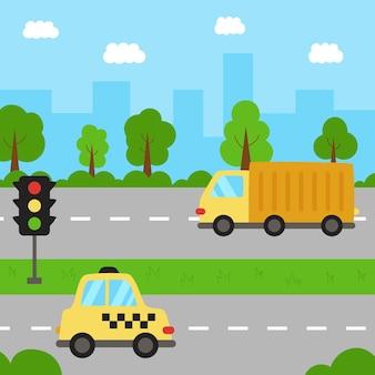 Widok na miasto z transportem. krajobraz miejski z taksówką i ciężarówką.