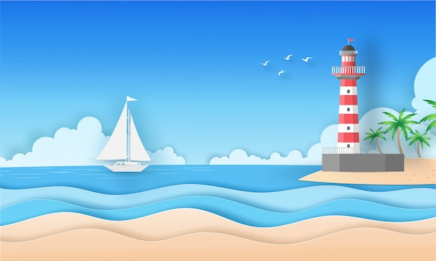 Widok na morze i plażę z chmurą, wyspą, ptakami, łodzią i latarnią morską w lecie. koncepcja sztuki papieru wektor.