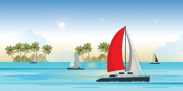 Widok na morze niebieski z luksusowym jachtem żaglowym w transparent morze