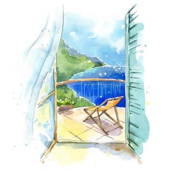 Widok na morze z balkonu przy nadmorskiej ilustracji akwarela