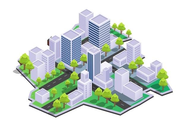 Widok na nowoczesną ulicę miasta i budynki
