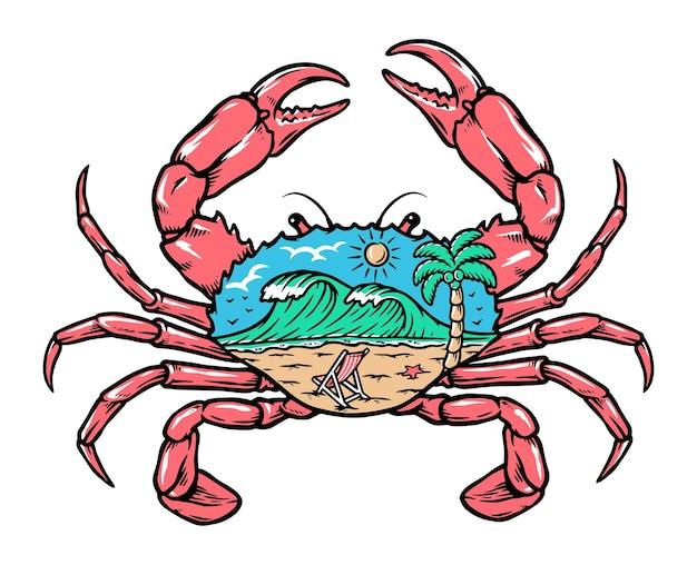 Widok na plażę wewnątrz ilustracji kraba