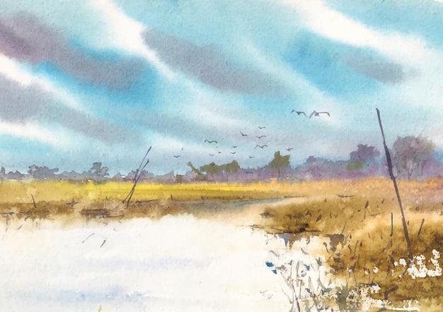 Widok na rzekę z ptakiem i panoramą szkicu akwarela