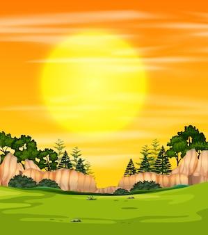 Widok na zachód słońca