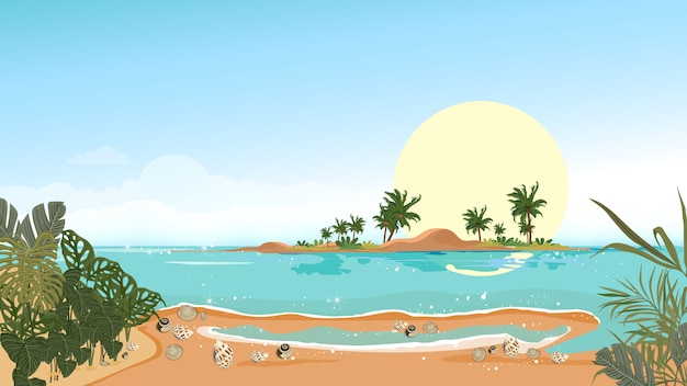 Widok panoramiczny tropikalny krajobraz błękitnego oceanu i palmy kokosowej na wyspie, panoramiczna plaża morska i piasek z błękitnego nieba, ilustracji wektorowych płaskiego stylu natura nadmorskiego krajobrazu na wakacje