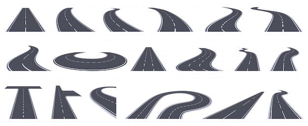Widok perspektywiczny drogi. kręte drogi autostradowe, zakręty asfaltowe drogi w perspektywie. włącz zestaw ilustracji dróg miejskich miasta. autostrada drogowa, asfalt do transportu, zakręt widoku linii