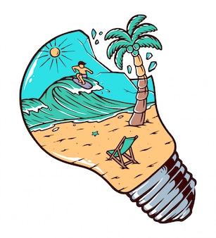 Widok plaża wśrodku żarówki ilustraci