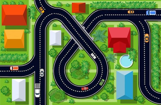 Widok skrzyżowania autostrad