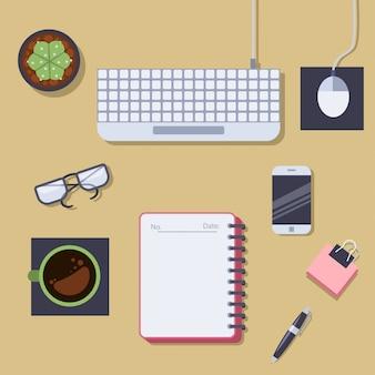 Widok stołu biurowego. wektorowa płaska ilustracja.