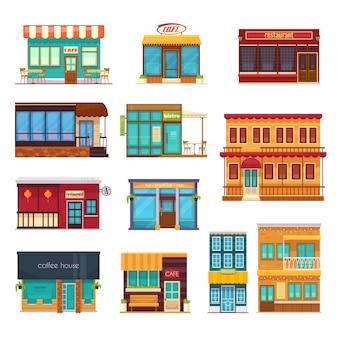 Widok ulicy przodu przekąska bar kawiarnia kawa dom bistro restauracja płaski ikony kolekcja na białym tle