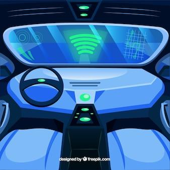 Widok wnętrza autonomicznego samochodu o płaskiej konstrukcji