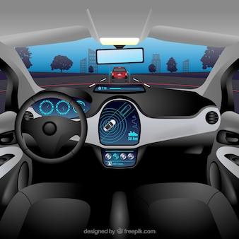 Widok wnętrza autonomicznego samochodu z realistycznym wystrojem