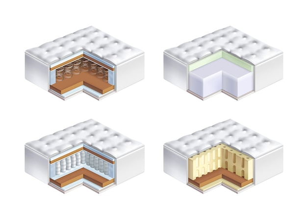 Widok wnętrza czterech rodzajów materacy ortopedycznych