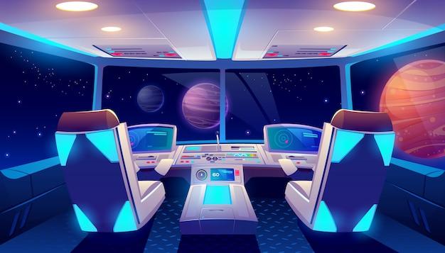 Widok wnętrza kokpitu statku kosmicznego i planet