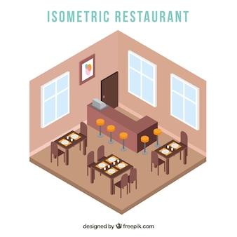 Widok wnętrza restauracji w stylu izometrycznym