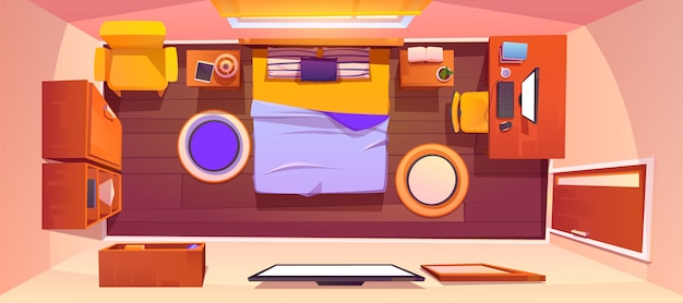 Widok wnętrza sypialni zestaw z góry