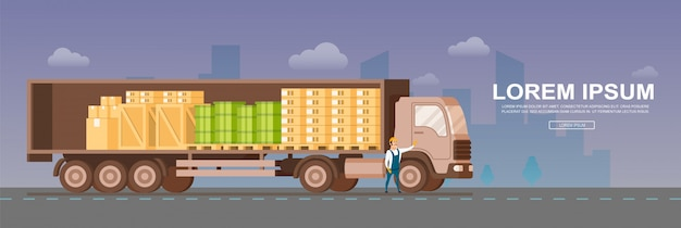 Widok z boku ciężarówki magazynowej otwartej bezpiecznej dostawy