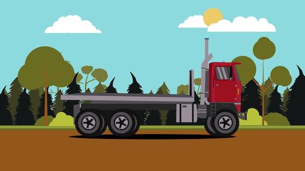 Widok z boku czerwonej ciężarówki ze sceną przyrody