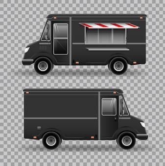 Widok z boku food truck z krajobrazem miasta na przezroczystym tle. mobilny van kuchenny. element tożsamości korporacyjnej.