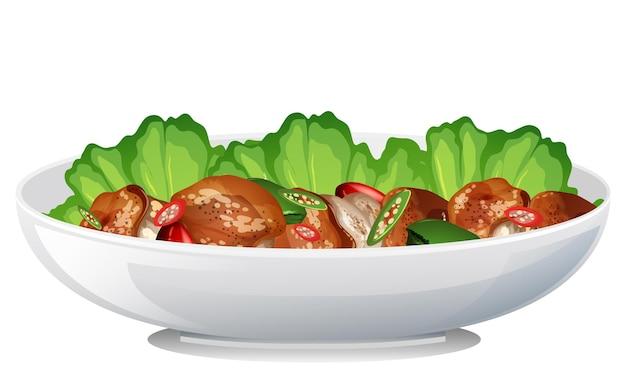 Widok z boku izolowanej miski na jedzenie