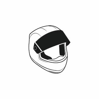 Widok z boku kasku motocyklowego na białym tle rysunek czarnego konturu