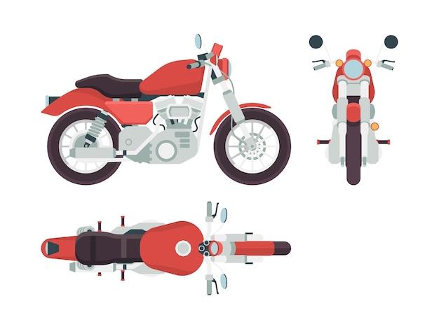 Widok z boku motocykla. transport rowerowy, wolność, trasa motocyklowa, stylizacja pojazdu