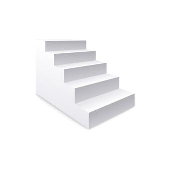 Widok z boku na białe realistyczne schody i koncepcja klatka schodowa sukcesu biznesowego i zawodowego