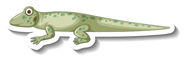 Widok z boku naklejki z kreskówką gekona lub jaszczurki
