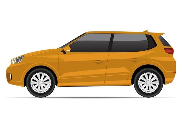Widok z boku realistyczny żółty kompaktowy suv samochód na białym tle.