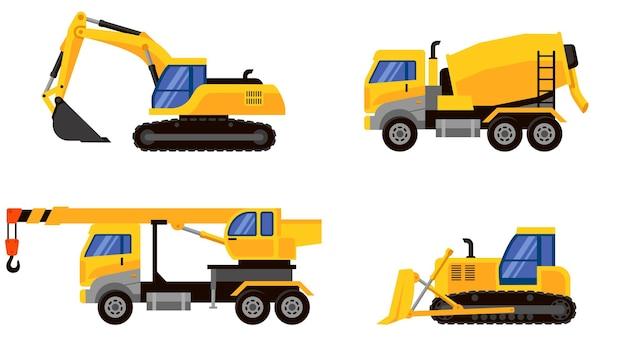 Widok z boku różnych typów ciężkich maszyn. pojazdy do wykonywania zadań budowlanych.