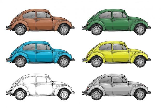 Widok z boku samochodu w wielu kolorach