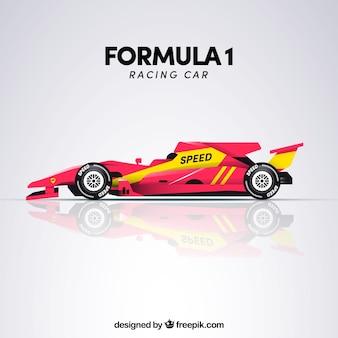 Widok z boku samochodu wyścigowego formuły 1