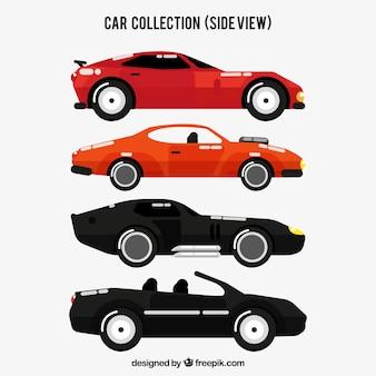 Widok z boku sześciu samochodów sportowych