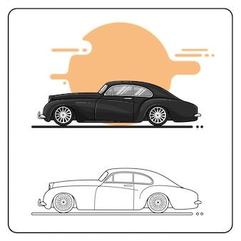 Widok z boku zabytkowych samochodów łatwo edytowalne