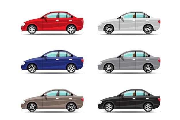 Widok z boku zestawu automatycznych samochodów lub samochodów osobowych syna na białym tle, płaska ilustracja