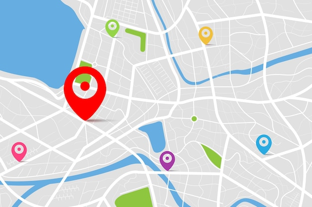 Widok z góry 3d mapy z punktem lokalizacji docelowej, czysty widok z góry mapy miasta w ciągu dnia z ulicą i rzeką, pusta mapa wyobraźni miejskiej, koncepcja nawigatora map gps