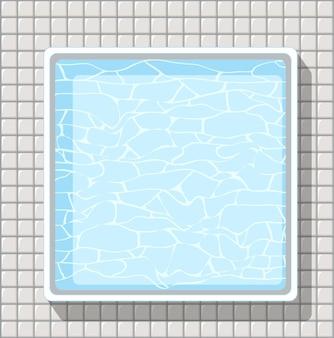 Widok z góry basenu na białym tle