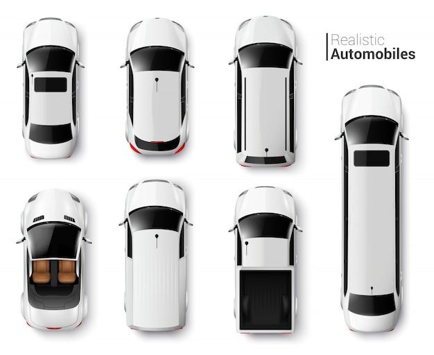 Widok z góry białe samochody realistyczny zestaw na białym tle