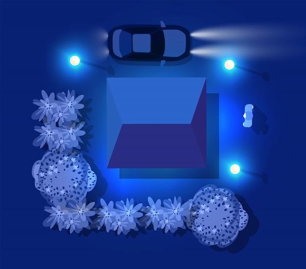 Widok z góry domu i samochodu w ultrafiolecie