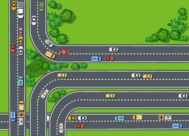Widok z góry drogi z autostradami wiele różnych pojazdów