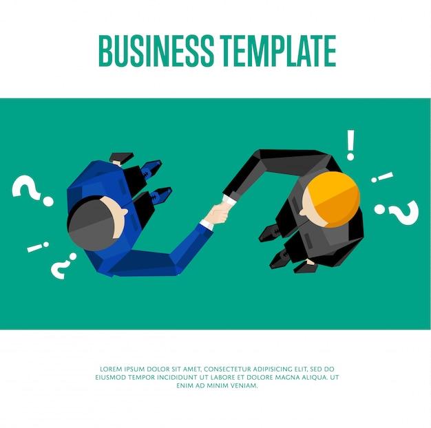 Widok z góry dwóch partnerów biznesowych, ściskając ręce
