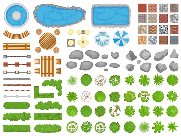 Widok z góry elementów parku. chodnik ogrodowy, meble ogrodowe relaksujące parki i ogrody drzew antenowy na białym tle zestaw